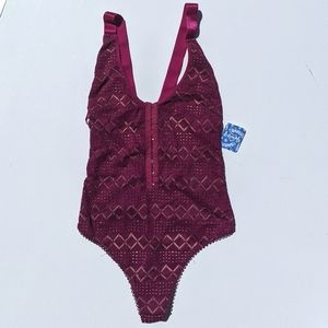 Free People Thank You Never Bodysuit Magenta S